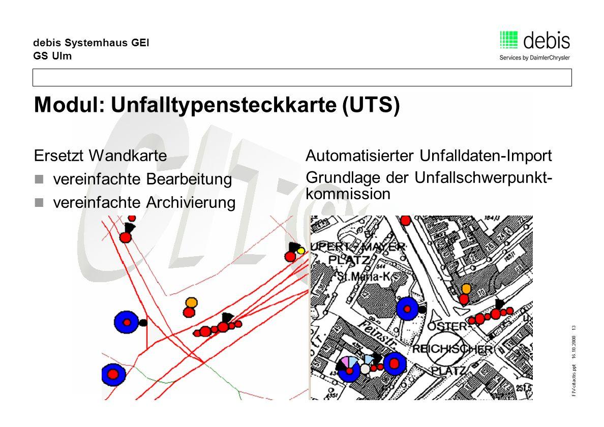 FIV-citactis.ppt 16.10.2000 13 debis Systemhaus GEI GS Ulm Modul: Unfalltypensteckkarte (UTS) Ersetzt Wandkarte vereinfachte Bearbeitung vereinfachte Archivierung Automatisierter Unfalldaten-Import Grundlage der Unfallschwerpunkt- kommission