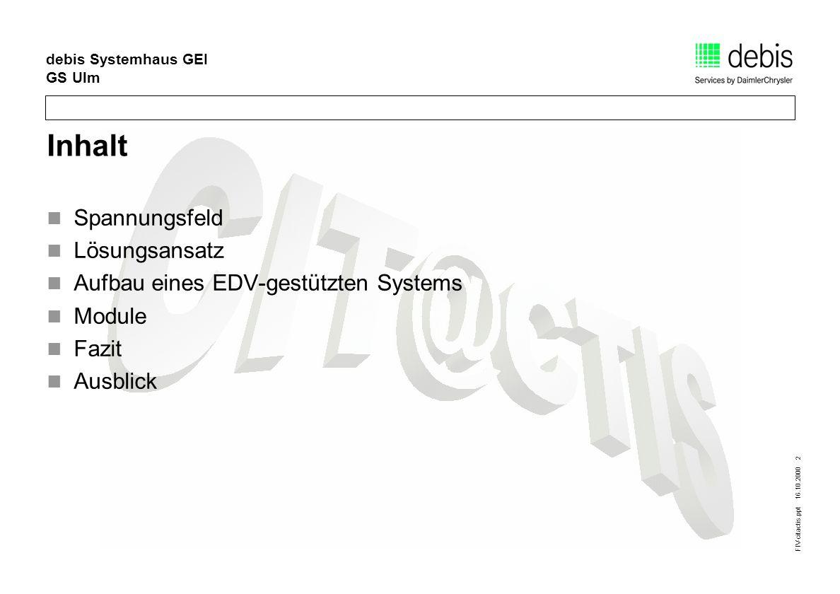 FIV-citactis.ppt 16.10.2000 3 debis Systemhaus GEI GS Ulm Optimale Nutzung des Hauptverkehrsnetze s Bürger- Service Verwaltung als vernetztes System Überblick über die Verkehrslage Spannungsfeld