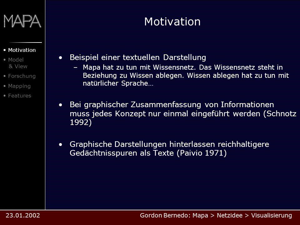 Motivation Beispiel einer textuellen Darstellung –Mapa hat zu tun mit Wissensnetz. Das Wissensnetz steht in Beziehung zu Wissen ablegen. Wissen ablege