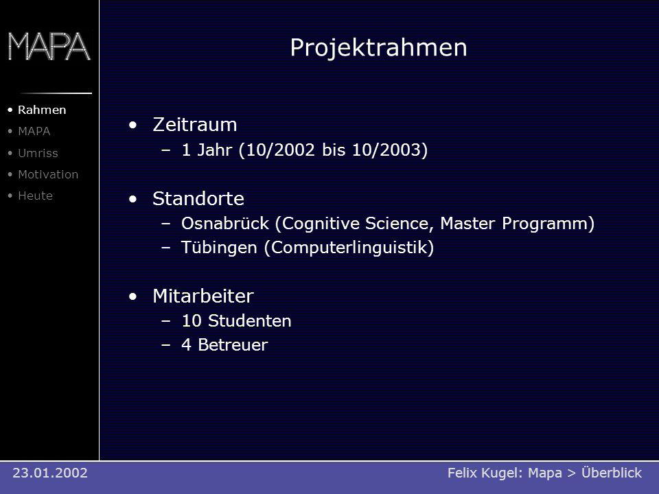 Projektrahmen Zeitraum –1 Jahr (10/2002 bis 10/2003) Standorte –Osnabrück (Cognitive Science, Master Programm) –Tübingen (Computerlinguistik) Mitarbei
