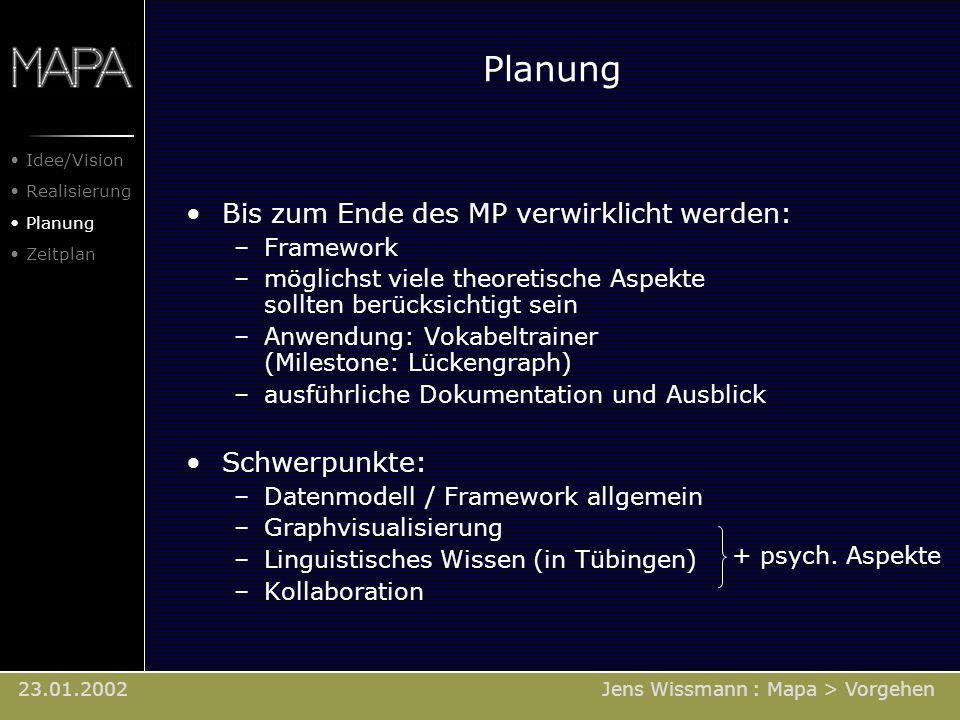 Bis zum Ende des MP verwirklicht werden: –Framework –möglichst viele theoretische Aspekte sollten berücksichtigt sein –Anwendung: Vokabeltrainer (Mile