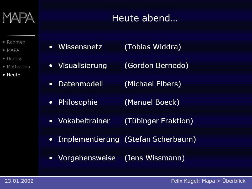 Heute abend… Wissensnetz (Tobias Widdra) Visualisierung(Gordon Bernedo) Datenmodell(Michael Elbers) Philosophie(Manuel Boeck) Vokabeltrainer(Tübinger