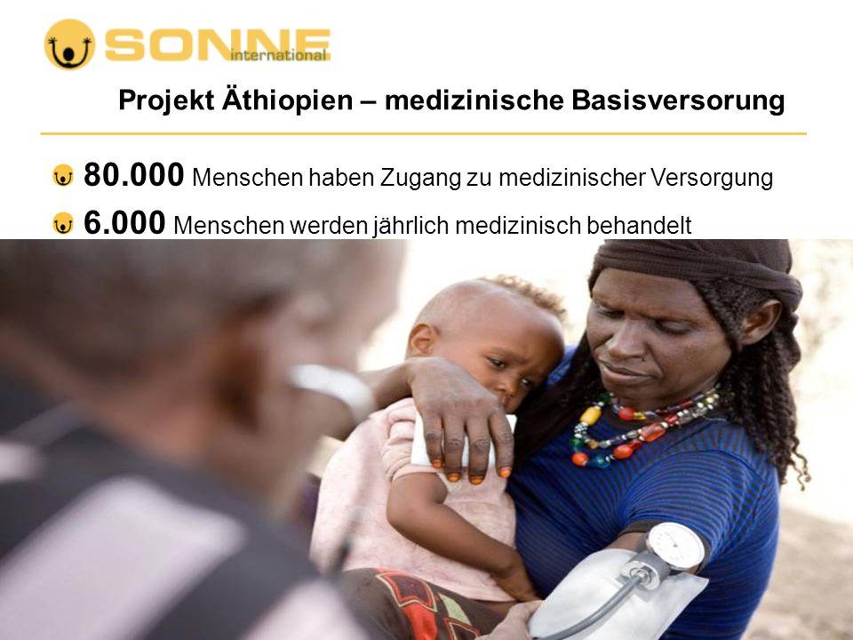 Projekt Äthiopien – medizinische Basisversorung 80.000 Menschen haben Zugang zu medizinischer Versorgung 6.000 Menschen werden jährlich medizinisch be