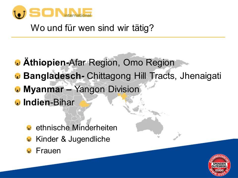 Äthiopien-Afar Region, Omo Region Bangladesch- Chittagong Hill Tracts, Jhenaigati Myanmar – Yangon Division Indien-Bihar ethnische Minderheiten Kinder