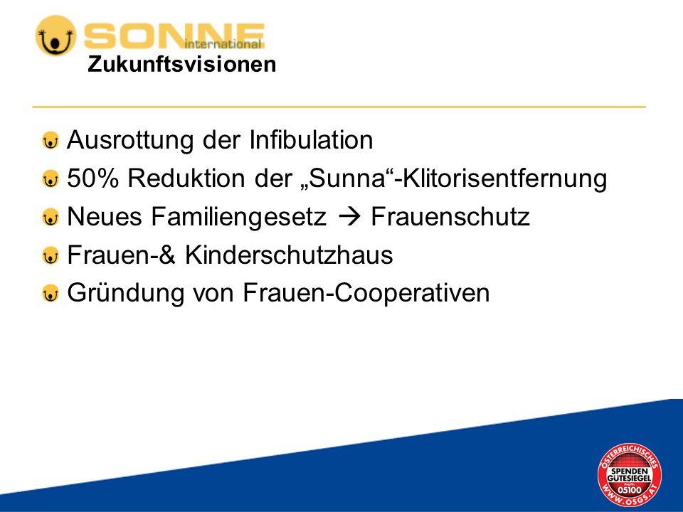 Zukunftsvisionen Ausrottung der Infibulation 50% Reduktion der Sunna-Klitorisentfernung Neues Familiengesetz Frauenschutz Frauen-& Kinderschutzhaus Gr