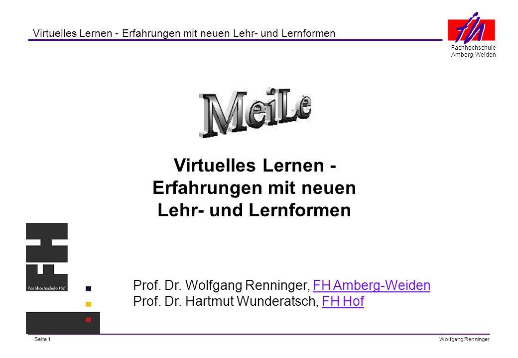 Seite 1 Fachhochschule Amberg-Weiden Wolfgang Renninger Virtuelles Lernen - Erfahrungen mit neuen Lehr- und Lernformen Virtuelles Lernen - Erfahrungen mit neuen Lehr- und Lernformen Prof.