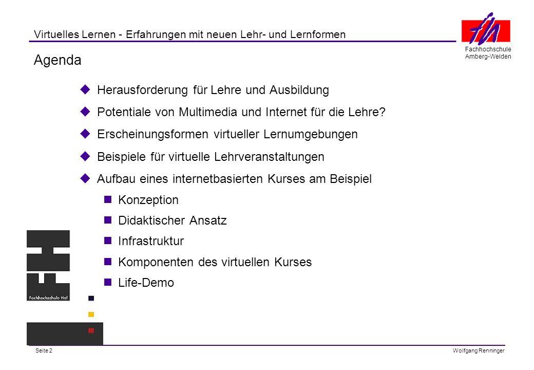 Seite 13 Fachhochschule Amberg-Weiden Wolfgang Renninger Virtuelles Lernen - Erfahrungen mit neuen Lehr- und Lernformen Strategischer Einsatz von IuK-Technologien- Aufbau und Konzeption Kurssystem Vorlesungsmaterial Vertiefende Hinweise, Hyperlinks Kontrollfragen, Aufgaben Studienbegl.