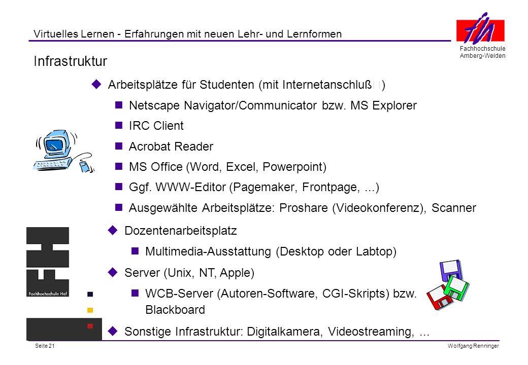 Seite 21 Fachhochschule Amberg-Weiden Wolfgang Renninger Virtuelles Lernen - Erfahrungen mit neuen Lehr- und Lernformen Infrastruktur Arbeitsplätze für Studenten (mit Internetanschluß) Netscape Navigator/Communicator bzw.