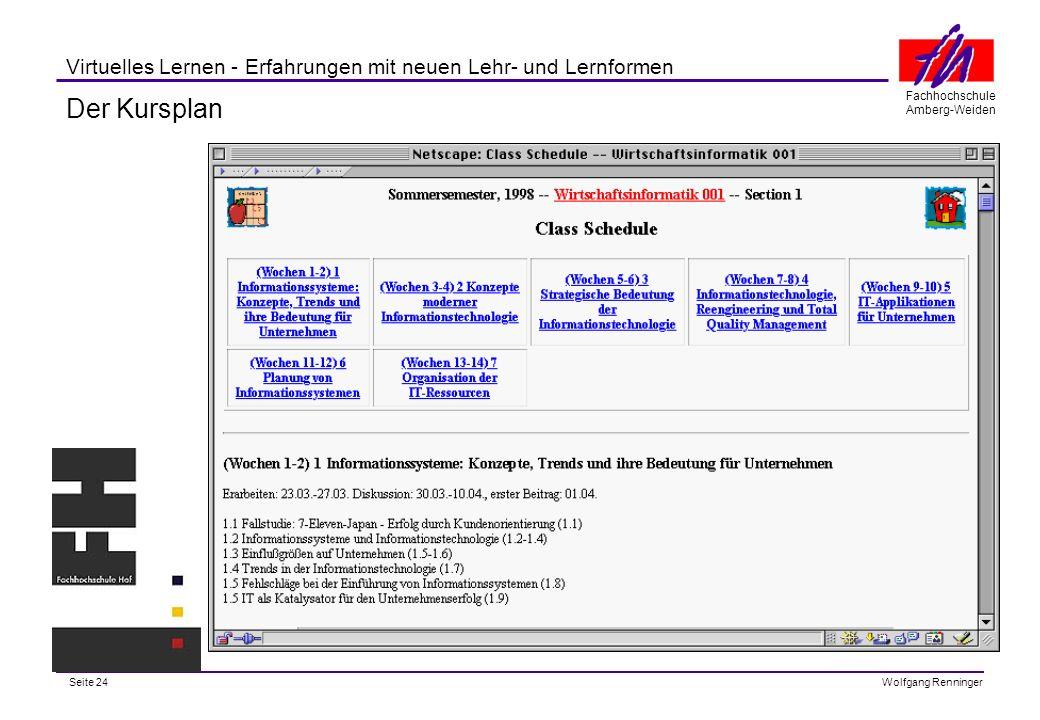 Seite 24 Fachhochschule Amberg-Weiden Wolfgang Renninger Virtuelles Lernen - Erfahrungen mit neuen Lehr- und Lernformen Der Kursplan