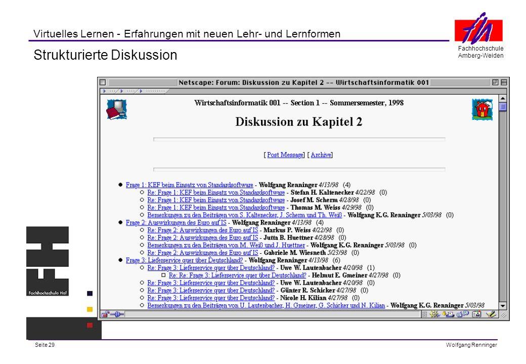 Seite 29 Fachhochschule Amberg-Weiden Wolfgang Renninger Virtuelles Lernen - Erfahrungen mit neuen Lehr- und Lernformen Strukturierte Diskussion