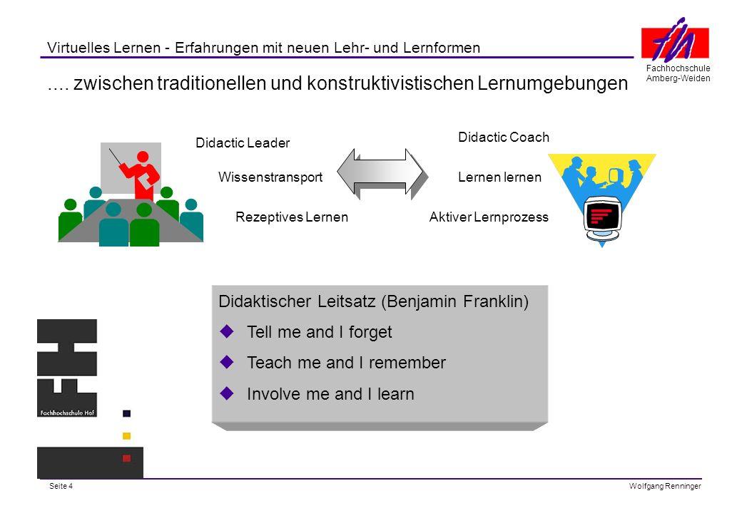 Seite 25 Fachhochschule Amberg-Weiden Wolfgang Renninger Virtuelles Lernen - Erfahrungen mit neuen Lehr- und Lernformen Der virtuelle Hörsaal