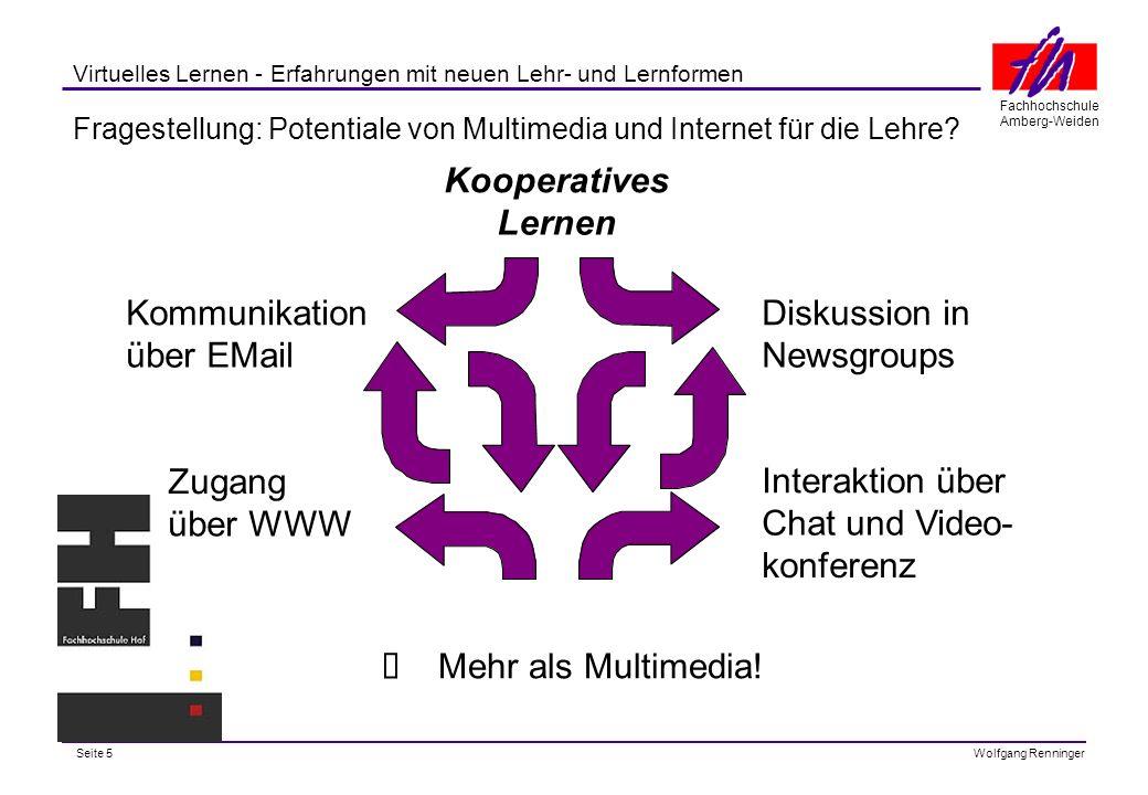 Seite 5 Fachhochschule Amberg-Weiden Wolfgang Renninger Virtuelles Lernen - Erfahrungen mit neuen Lehr- und Lernformen Fragestellung: Potentiale von Multimedia und Internet für die Lehre.