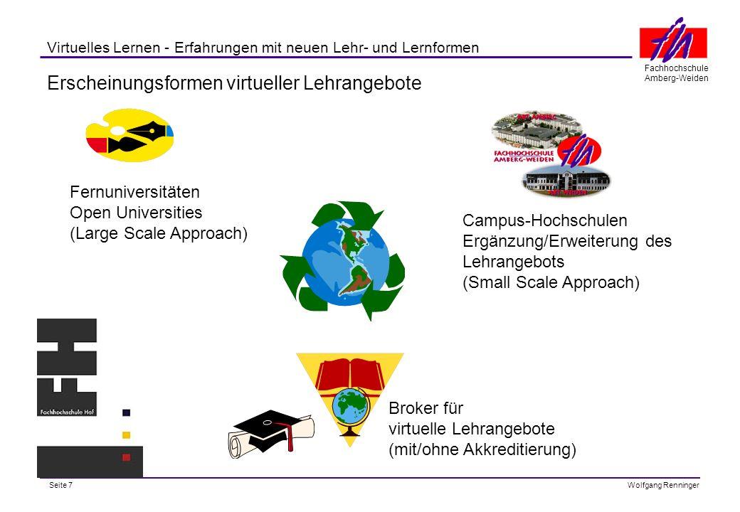 Seite 8 Fachhochschule Amberg-Weiden Wolfgang Renninger Virtuelles Lernen - Erfahrungen mit neuen Lehr- und Lernformen Virtuelles Angebot der Fernuniversität Hagen http://www.fernuni-hagen.de/