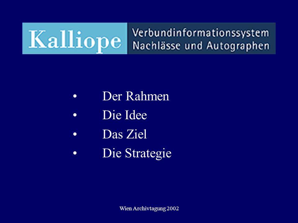 Wien Archivtagung 2002 Der Rahmen Die Idee Das Ziel Die Strategie