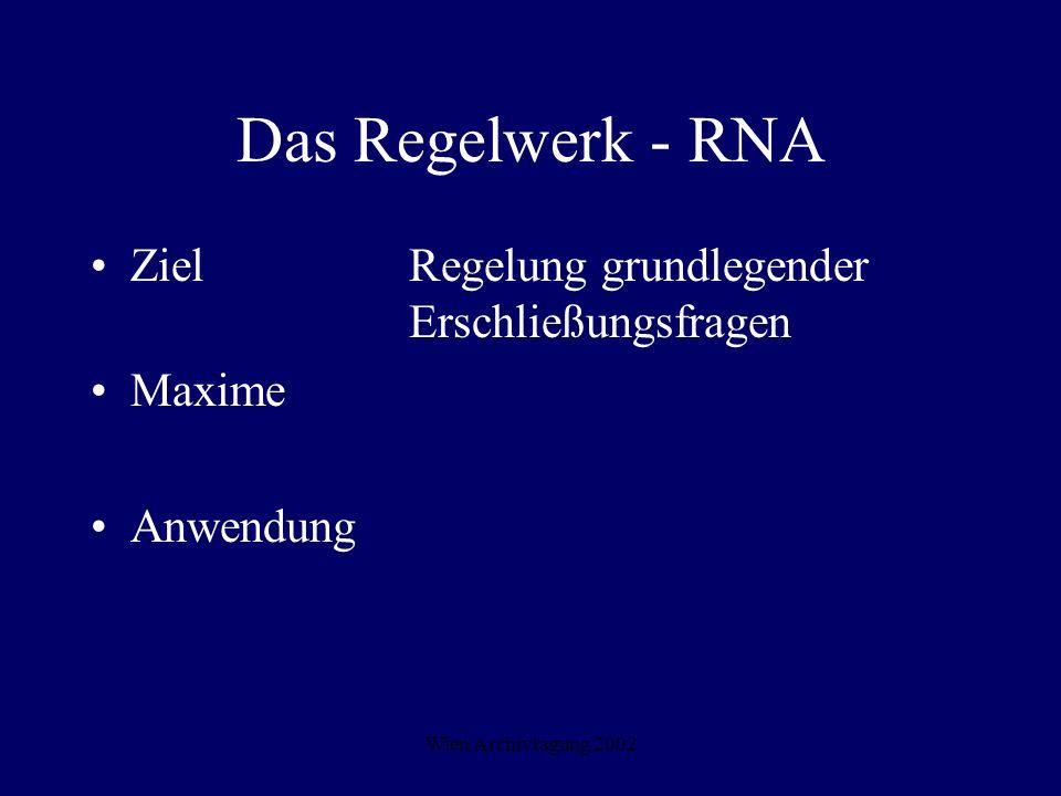 Wien Archivtagung 2002 Das Regelwerk - RNA Ziel Regelung grundlegender Erschließungsfragen Maxime Anwendung