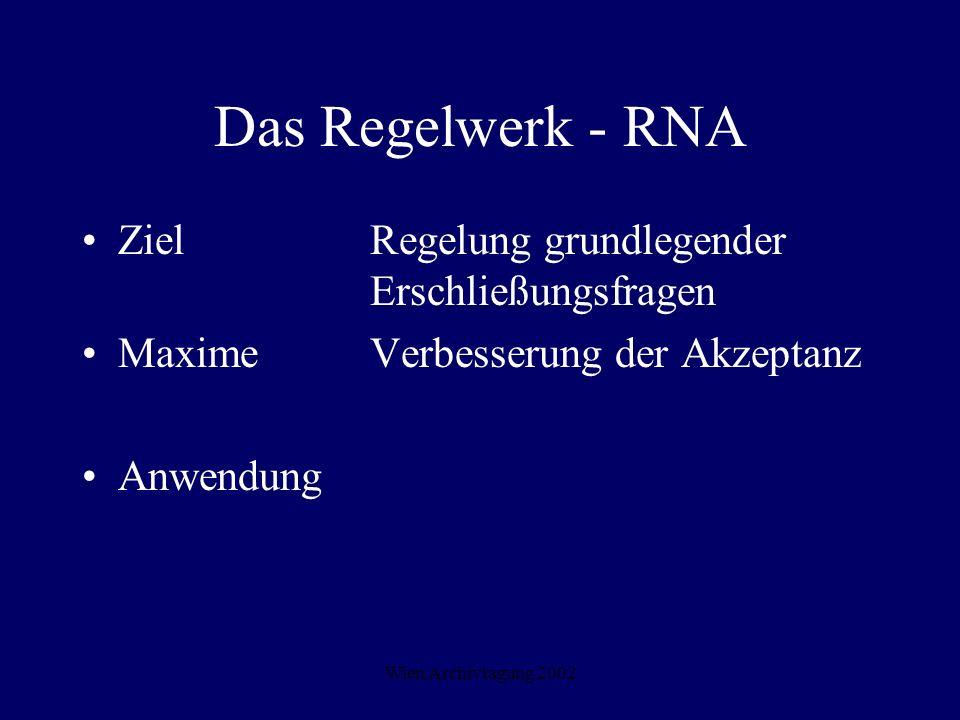 Wien Archivtagung 2002 Das Regelwerk - RNA ZielRegelung grundlegender Erschließungsfragen MaximeVerbesserung der Akzeptanz Anwendung