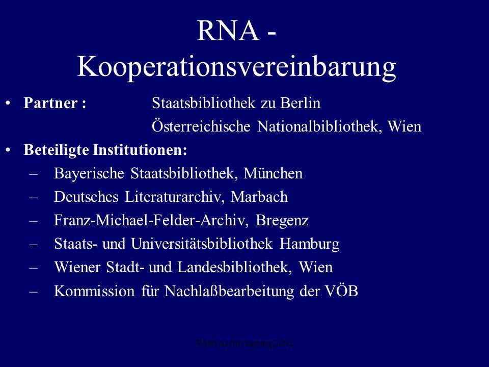Wien Archivtagung 2002 RNA - Kooperationsvereinbarung Partner : Staatsbibliothek zu Berlin Österreichische Nationalbibliothek, Wien Beteiligte Institu