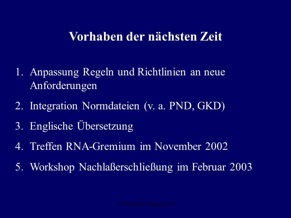 Wien Archivtagung 2002 Vorhaben der nächsten Zeit 1. Anpassung Regeln und Richtlinien an neue Anforderungen 2.Integration Normdateien (v. a. PND, GKD)