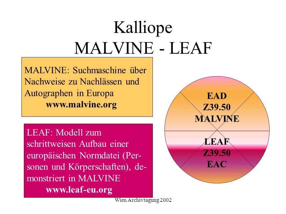 Wien Archivtagung 2002 Kalliope MALVINE - LEAF EAD Z39.50 MALVINE LEAF Z39.50 EAC MALVINE: Suchmaschine über Nachweise zu Nachlässen und Autographen i