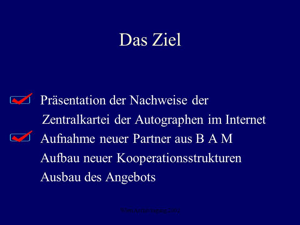 Wien Archivtagung 2002 Das Ziel Präsentation der Nachweise der Zentralkartei der Autographen im Internet Aufnahme neuer Partner aus B A M Aufbau neuer
