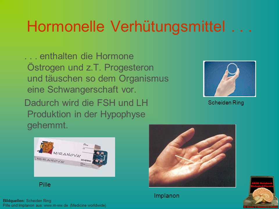 Hormonelle Verhütungsmittel...... enthalten die Hormone Östrogen und z.T.