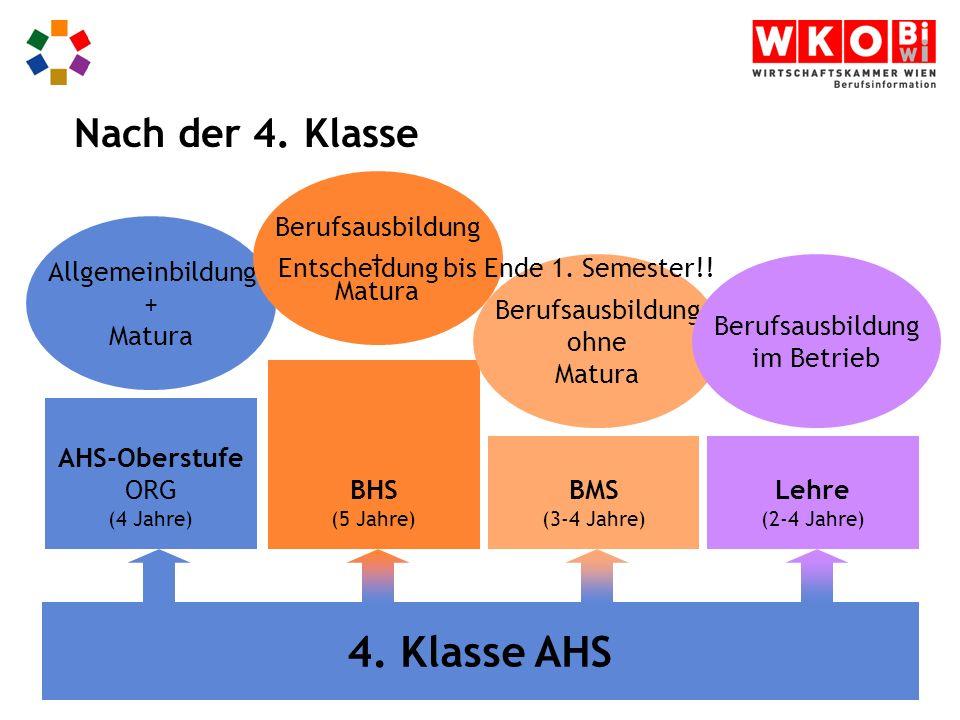 AHS-Oberstufe ORG (4 Jahre) BMS (3-4 Jahre) BHS (5 Jahre) Lehre (2-4 Jahre) 4.