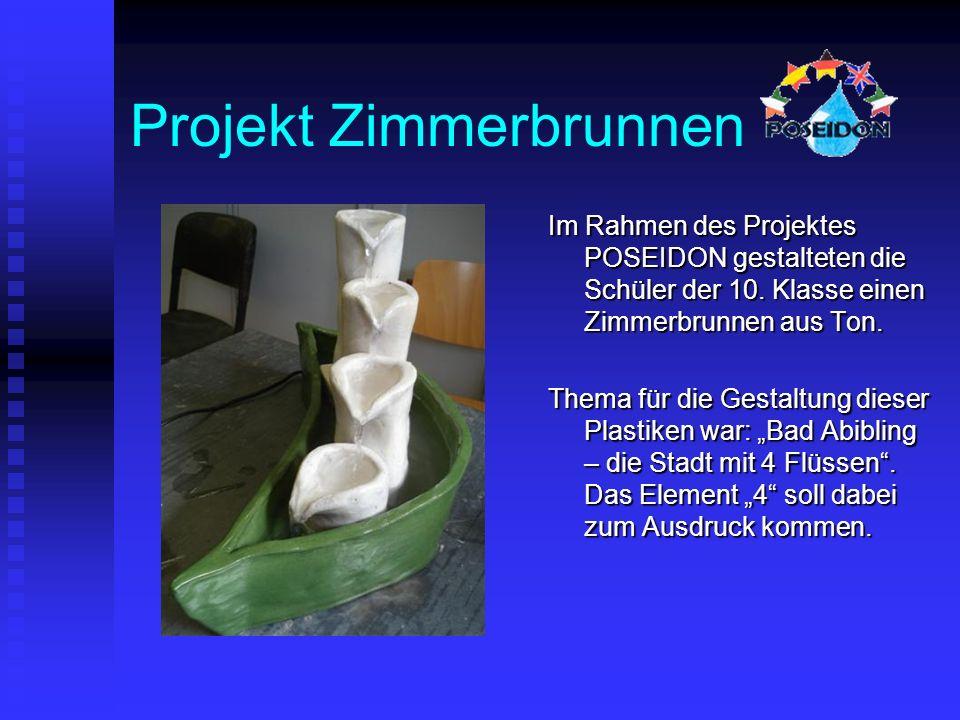 Projekt Zimmerbrunnen Im Rahmen des Projektes POSEIDON gestalteten die Schüler der 10.