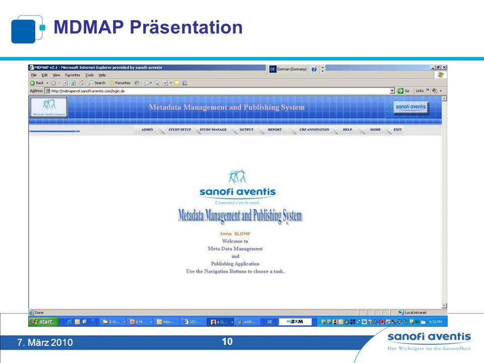 7. März 2010 10 MDMAP Präsentation