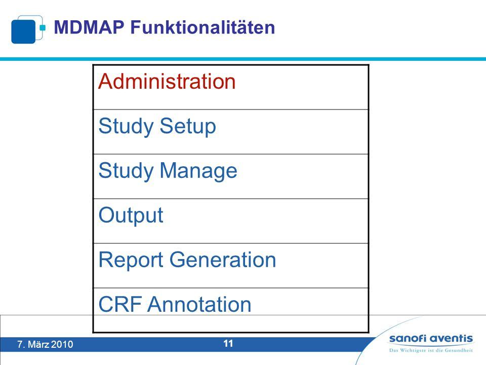 7. März 2010 11 MDMAP Funktionalitäten Administration Study Setup Study Manage Output Report Generation CRF Annotation
