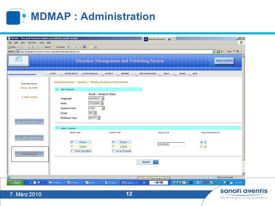 7. März 2010 12 MDMAP : Administration