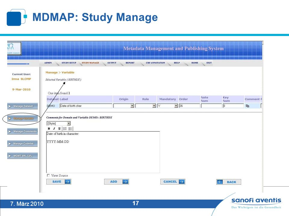7. März 2010 17 MDMAP: Study Manage