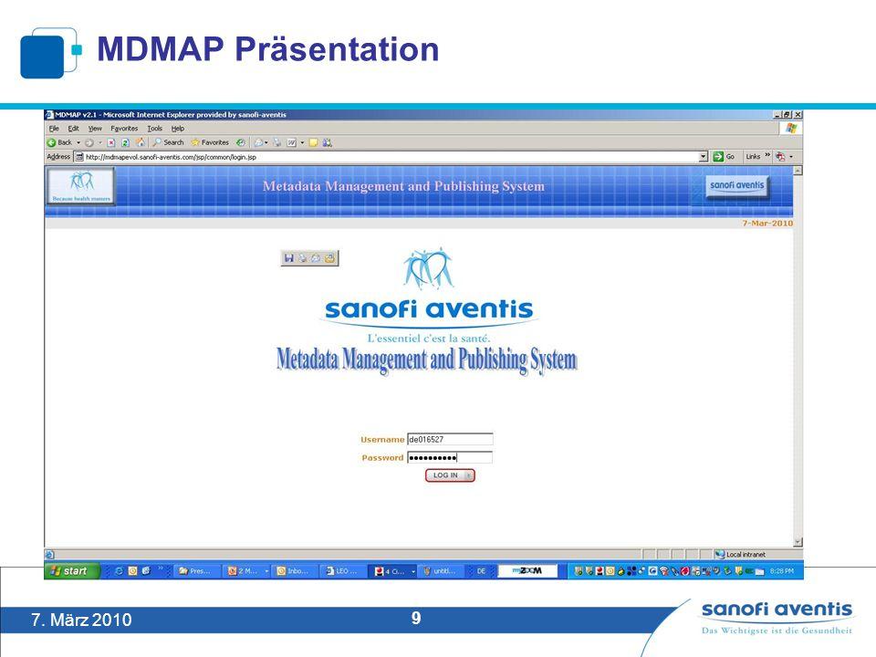 7. März 2010 9 MDMAP Präsentation