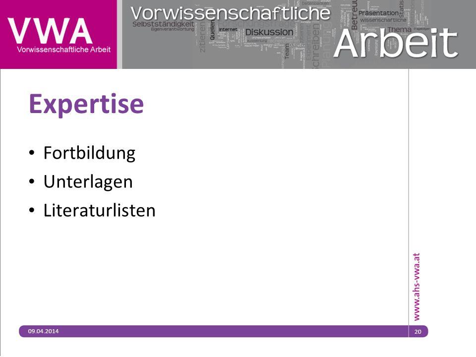 09.04.201420 Expertise Fortbildung Unterlagen Literaturlisten