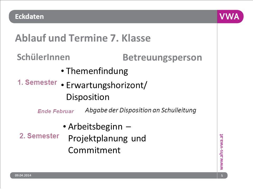 Eckdaten 09.04.20145 Ablauf und Termine 7.