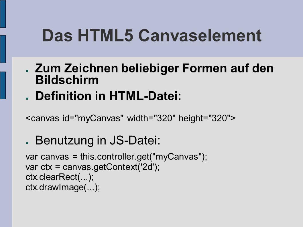 Das HTML5 Canvaselement Zum Zeichnen beliebiger Formen auf den Bildschirm Definition in HTML-Datei: Benutzung in JS-Datei: var canvas = this.controlle