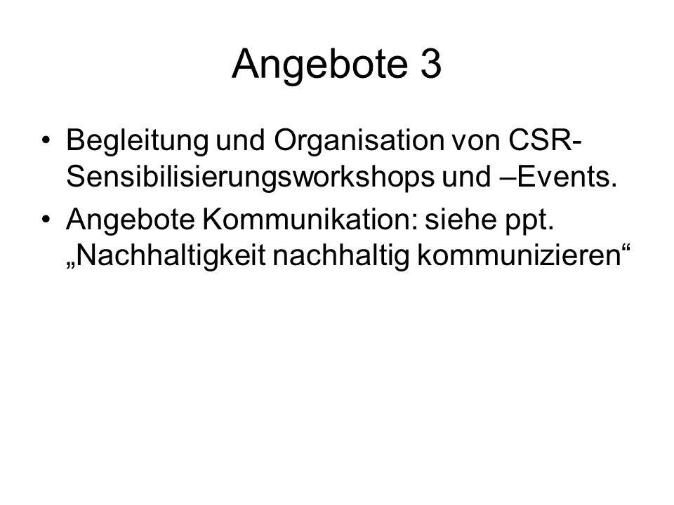 Angebote 3 Begleitung und Organisation von CSR- Sensibilisierungsworkshops und –Events. Angebote Kommunikation: siehe ppt. Nachhaltigkeit nachhaltig k