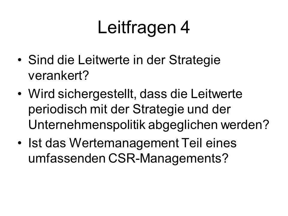 Leitfragen 4 Sind die Leitwerte in der Strategie verankert? Wird sichergestellt, dass die Leitwerte periodisch mit der Strategie und der Unternehmensp
