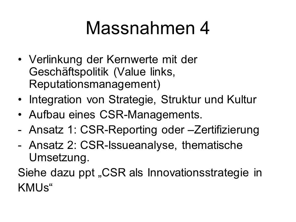 Massnahmen 4 Verlinkung der Kernwerte mit der Geschäftspolitik (Value links, Reputationsmanagement) Integration von Strategie, Struktur und Kultur Auf