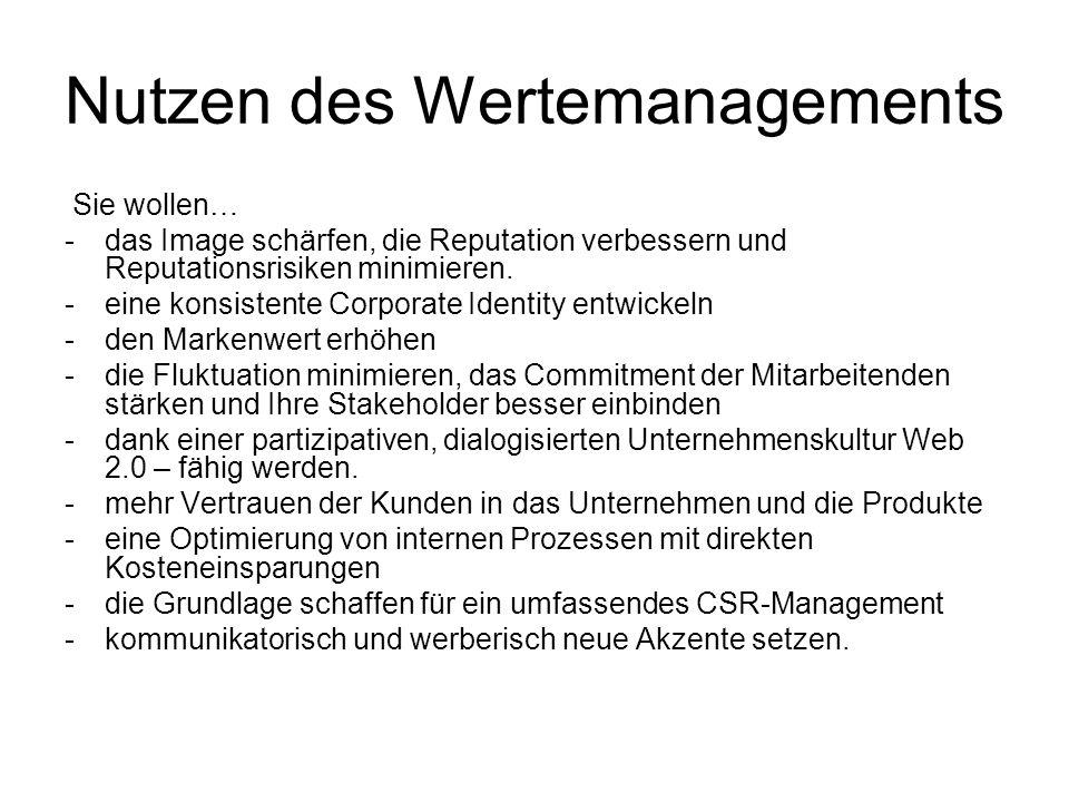 Massnahmen 4 Verlinkung der Kernwerte mit der Geschäftspolitik (Value links, Reputationsmanagement) Integration von Strategie, Struktur und Kultur Aufbau eines CSR-Managements.