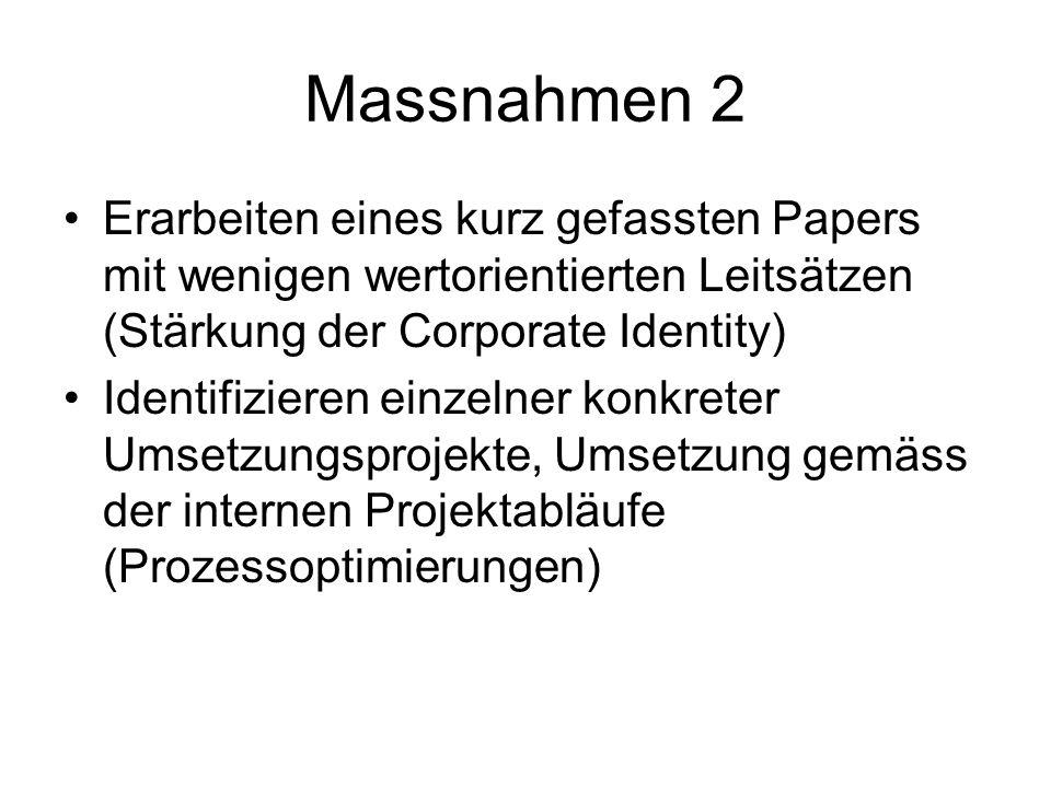 Massnahmen 2 Erarbeiten eines kurz gefassten Papers mit wenigen wertorientierten Leitsätzen (Stärkung der Corporate Identity) Identifizieren einzelner