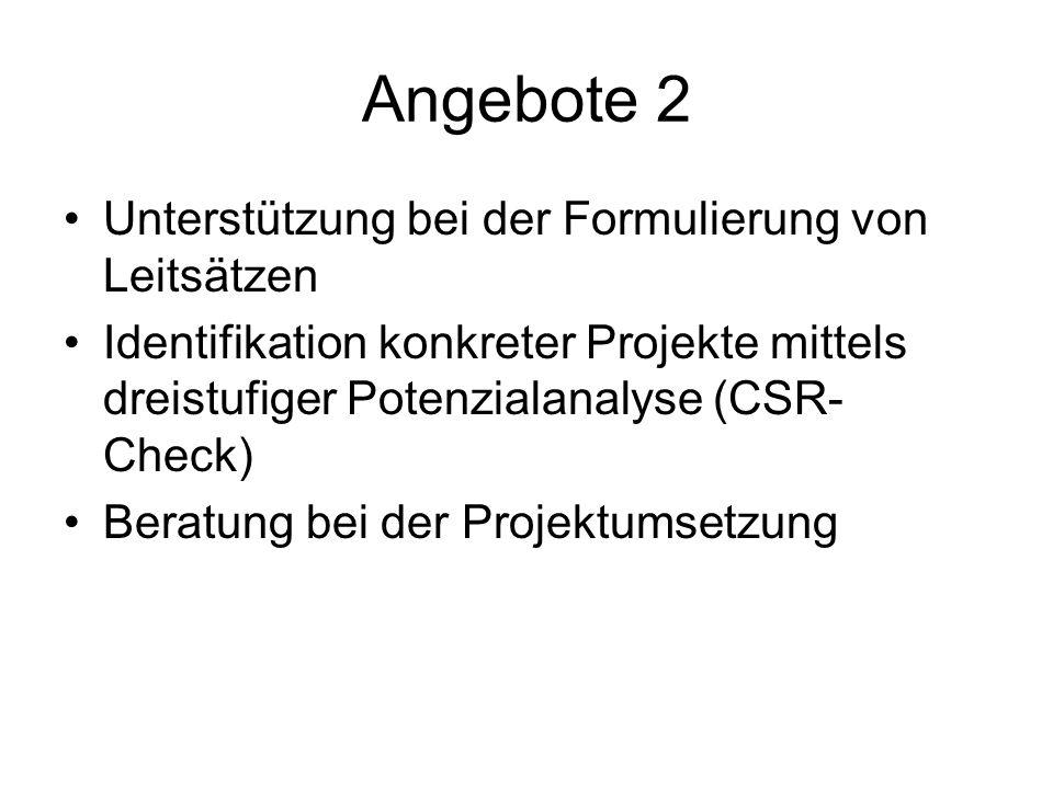 Angebote 2 Unterstützung bei der Formulierung von Leitsätzen Identifikation konkreter Projekte mittels dreistufiger Potenzialanalyse (CSR- Check) Bera