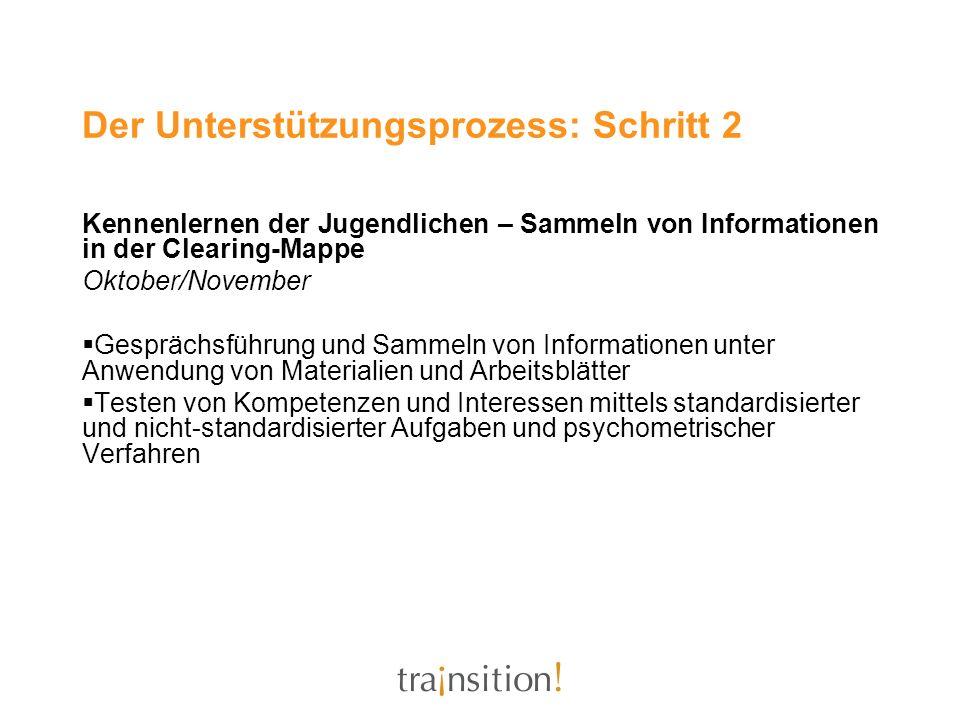 Kennenlernen der Jugendlichen – Sammeln von Informationen in der Clearing-Mappe Oktober/November Gesprächsführung und Sammeln von Informationen unter