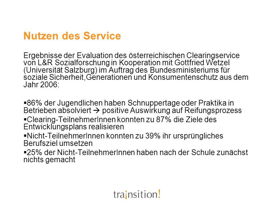 Nutzen des Service Ergebnisse der Evaluation des österreichischen Clearingservice von L&R Sozialforschung in Kooperation mit Gottfried Wetzel (Univers