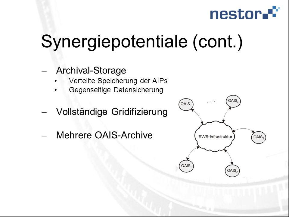 Synergiepotentiale (cont.) – Archival-Storage Verteilte Speicherung der AIPs Gegenseitige Datensicherung – Vollständige Gridifizierung – Mehrere OAIS-Archive