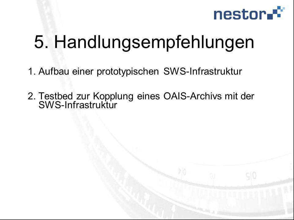 5. Handlungsempfehlungen 1.Aufbau einer prototypischen SWS-Infrastruktur 2.Testbed zur Kopplung eines OAIS-Archivs mit der SWS-Infrastruktur