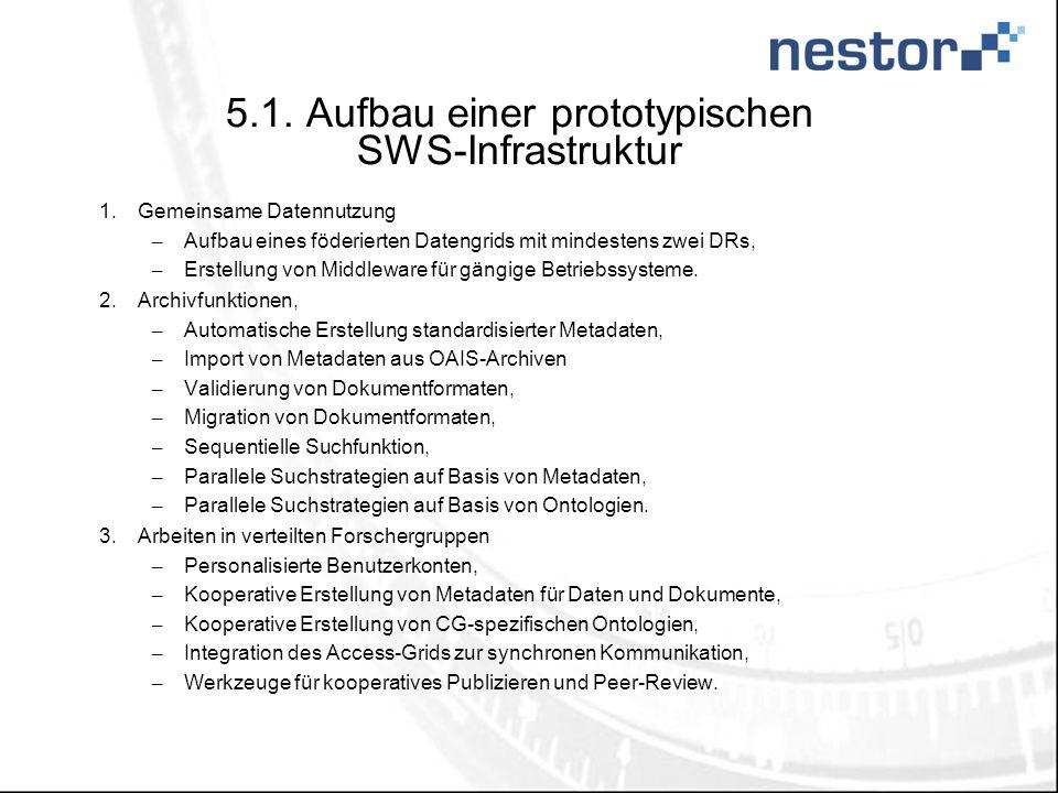 5.1. Aufbau einer prototypischen SWS-Infrastruktur 1.Gemeinsame Datennutzung – Aufbau eines föderierten Datengrids mit mindestens zwei DRs, – Erstellu