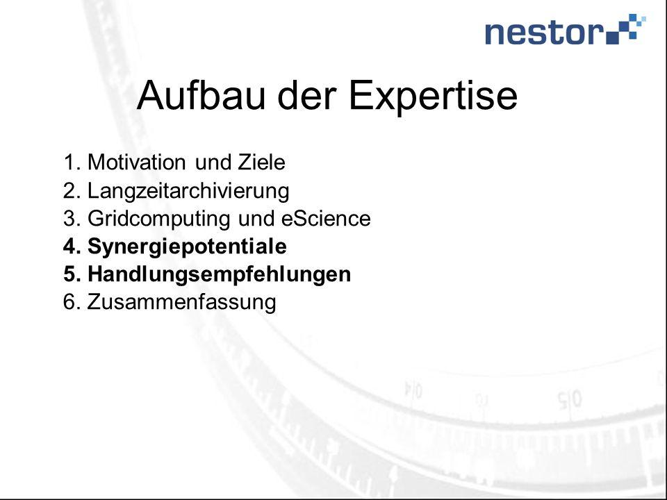 Aufbau der Expertise 1.Motivation und Ziele 2.Langzeitarchivierung 3.Gridcomputing und eScience 4.Synergiepotentiale 5.Handlungsempfehlungen 6.Zusamme
