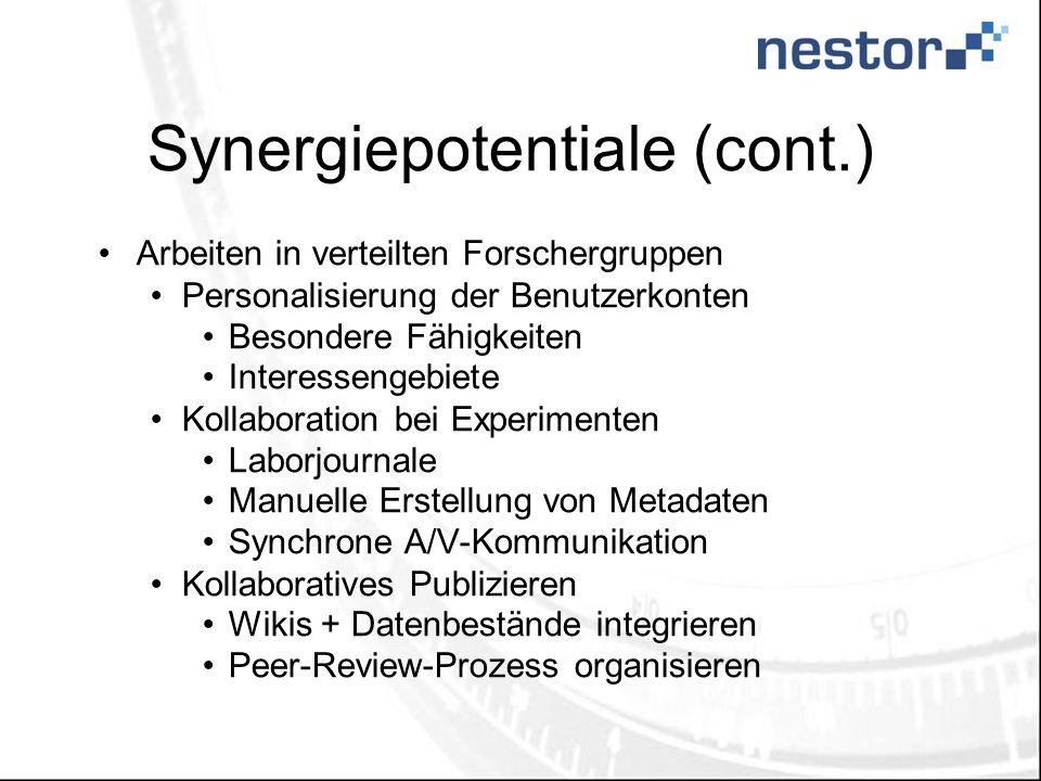 Synergiepotentiale (cont.) Arbeiten in verteilten Forschergruppen Personalisierung der Benutzerkonten Besondere Fähigkeiten Interessengebiete Kollabor