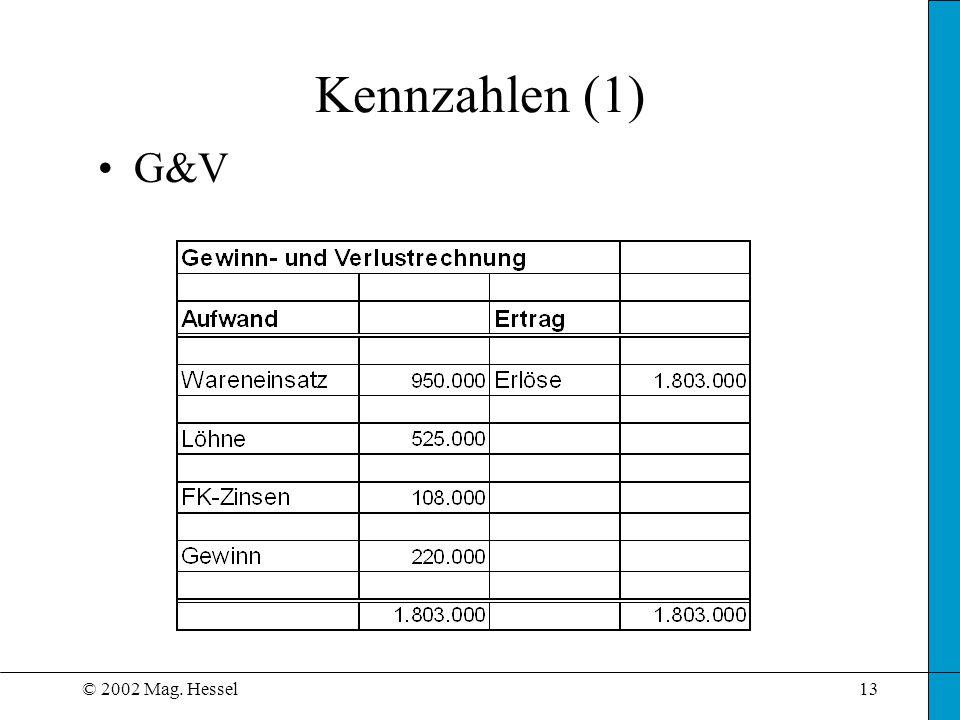 © 2002 Mag. Hessel13 Kennzahlen (1) G&V