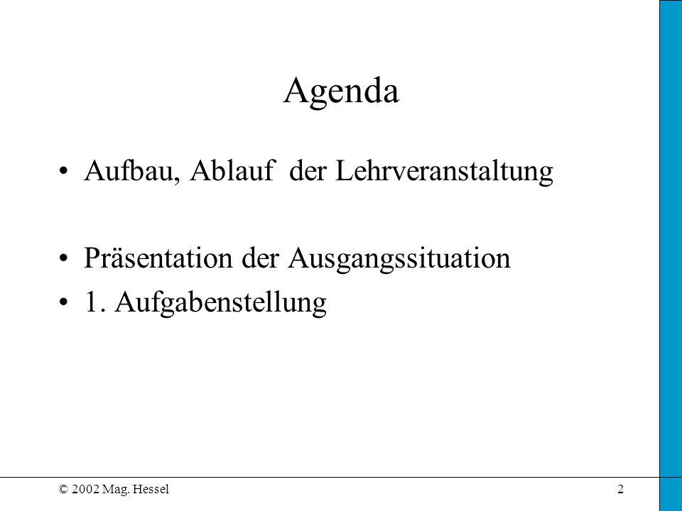 © 2002 Mag. Hessel2 Agenda Aufbau, Ablauf der Lehrveranstaltung Präsentation der Ausgangssituation 1. Aufgabenstellung